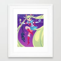 sailor moon Framed Art Prints featuring Sailor Moon by ZoeStanleyArts