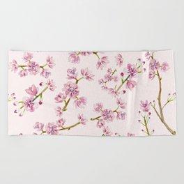 Spring Flowers - Pink Cherry Blossom Pattern Beach Towel