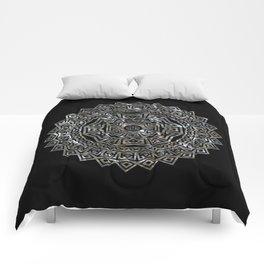 Aztec Mexican Silver Mandala Comforters