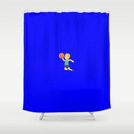 'Slam dunk' emoji on internet blue Shower Curtain