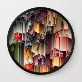 strawberries and berries abstract digital art Wall Clock