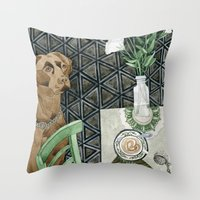 labrador Throw Pillows featuring Geometry Labrador by Yuliya