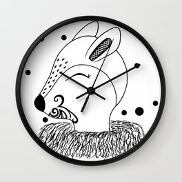 Miss Hata (black and white) Wall Clock