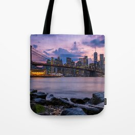 Sunset at Pebble Beach DUMBO Brooklyn New York summer time 2019 Tote Bag