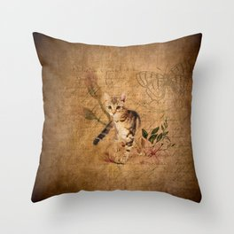 Vintage Cat Story Throw Pillow
