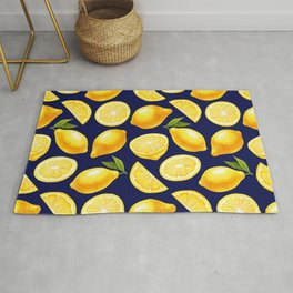 Lemon Pattern Yellow Navy Rug