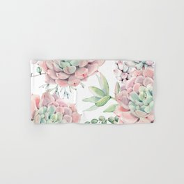 Pink Succulents by Nature Magick Hand & Bath Towel