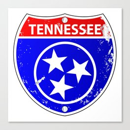 Tennessee Flag Icons As Interstate Sign Canvas Print