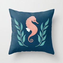 Shy Seahorse Throw Pillow