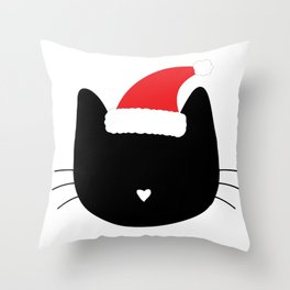 Christmas Cat Heart Nose With Santa Hat Throw Pillow
