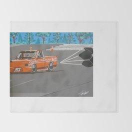 orange drag truck Throw Blanket