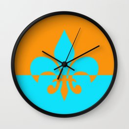 Orange and Aqua Fleur de lis Wall Clock