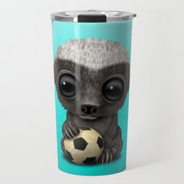 Cute Baby Honey Badger With Football Soccer Ball Travel Mug