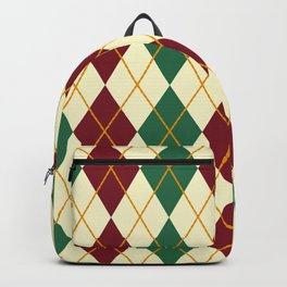 Maroon And Green Argyle Backpack