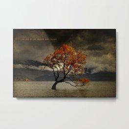 Lone Tree Of Lake Wanaka, New Zealand Metal Print
