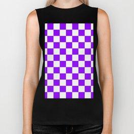 Checkered - White and Violet Biker Tank