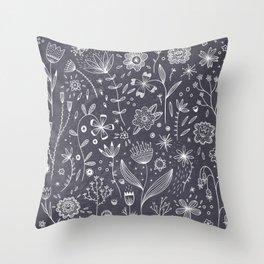 Chalkboard Flowers Throw Pillow