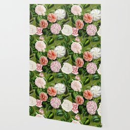 Vintage & Shabby Chic Green Dark Floral Camellia  Flowers Watercolor Pattern Wallpaper