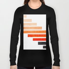 Orange Minimalist Mid Century Modern Inca Watercolor Stripes Staggered Symmetrical Pattern Long Sleeve T-shirt