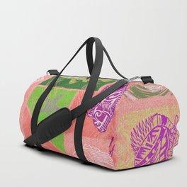 Vintage Hawaiian Polynesian Fish Collage Duffle Bag