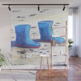 Wellies on the sand Wall Mural