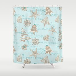 Christmas Holiday Driftwood Tree, Star and Snowflake in Ocean Shower Curtain