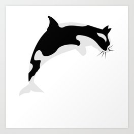 Orca Cat Funny Water Animal Gift Art Print