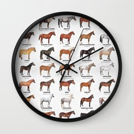 Horse Breeds Of The World Wall Clock