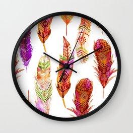 Watercolor Orange Feathers Wall Clock