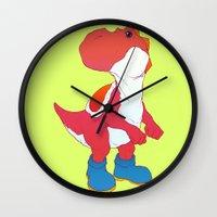yoshi Wall Clocks featuring Yoshi Red by bloozen