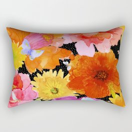Watercolor Flowers on Black Rectangular Pillow