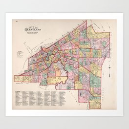 Vintage Map of Cleveland OH (1892) Art Print