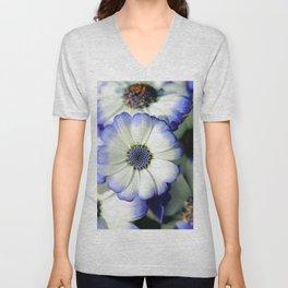 White and Blue Daisy Close up Unisex V-Neck