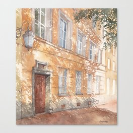 Sunny street watercolor illustration Canvas Print