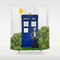 police Shower Curtains featuring Police Box by Bohemian Bear by Kristi Duggins