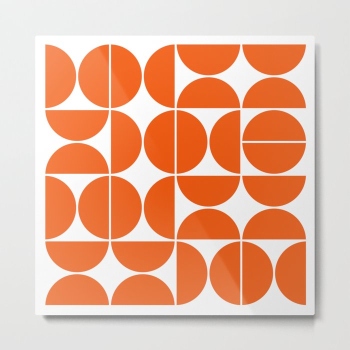Mid Century Modern Geometric 04 Orange Metal Print