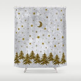 Sparkly Christmas tree, stars, moons on abstract paper Shower Curtain