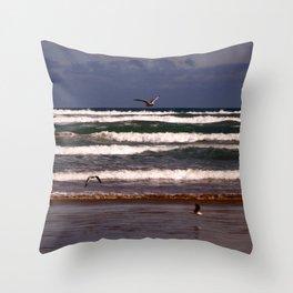 Seagulls Among the Waves Throw Pillow