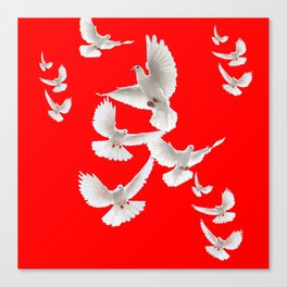 FLOCK OF WHITE PEACE DOVES ON RED COLOR Canvas Print