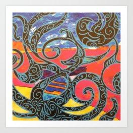 BARQUES ENLACEES Art Print