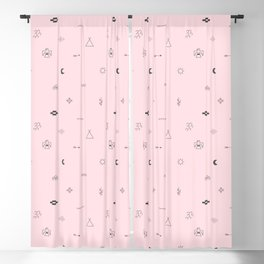 Southwestern Symbolic Pattern in Pale Pink & Charcoal Blackout Curtain