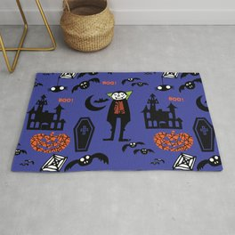 Cute Dracula and friends blue #halloween Rug