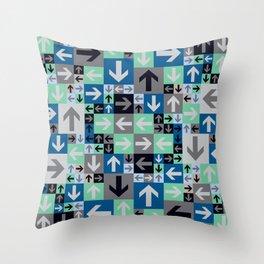 Arrow Pattern Blue Green Gray Throw Pillow