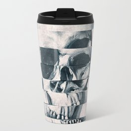 Glitch Skull Mono Travel Mug