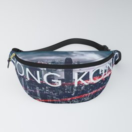 Hong Kong against aerial city view. Fanny Pack