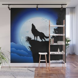 Wolf Howling at Blue Moon Wall Mural