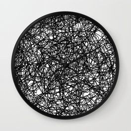 Angry Scribbles - Black and white, abstract, black ink scribbles pattern Wall Clock