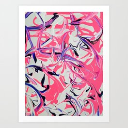 Pink & Purple Paint Drools Art Print