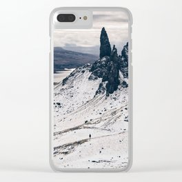 Old Man of Storr wrapped up in a blanket of snow Clear iPhone Case