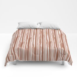 Cavern Clay SW 7701 Vertical Grunge Abstract Line Pattern on Pure White Comforters
